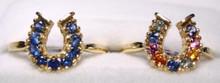 Montana sapphire 9 stone horseshoe ring