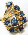 Montana sapphire peacock ring 14K gold blue