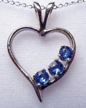 Montana Yogo Sapphire 3 Stone Open Heart Pendant