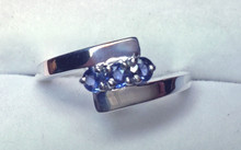 Montana Yogo Sapphire 3 Stone Bypass Ring Sterling Silver