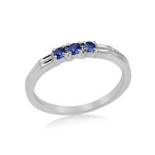 Montana Yogo Sapphire 3 Stone Band Silver Ring