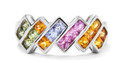 Pastel Princess cut sapphire channel set ring