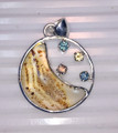 Montana Sapphires and Montana Agate Moon Sterling Silver Pendant