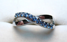 Montana Yogo Sapphire 11 Stone Crossover Ring .33 ct 14K white gold
