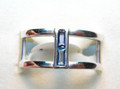 Montana Yogo Sapphire Baguette Negative Space Silver Ring