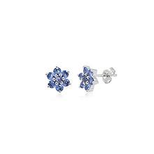 Montana Yogo Sapphire Flower earrings 14K White Gold