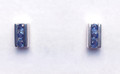 Montana Yogo Sapphire 3 Stone Channel Earrings Sterling Silver