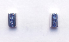 Montana Yogo Sapphire 3 Stone Channel Earrings Sterling Silver