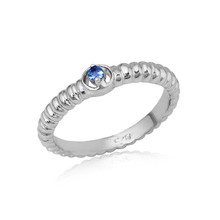 Montana Yogo Sapphire Ribbed Solitaire Ring Sterling Silver