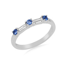 Montana Yogo Sapphire 3 Stone Stackable Band Sterling Silver Ring