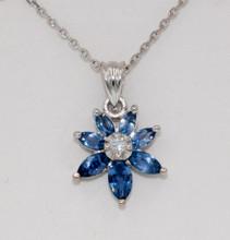 Montana Yogo Sapphire Marquise & Diamond Flower Pendant 18K White Gold