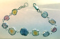 "Montana Sapphire Natural Crystal Bracelet Sterling Silver  6 7/8"" 10 stones"