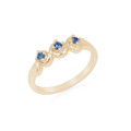 Montana Yogo Sapphire 3 Stone 14K Gold Ring