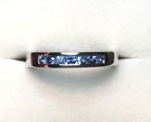 Montana Yogo Sapphire 7 Stone Channel Set Band Sterling Silver Ring