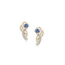 Montana Yogo  Sapphire & Diamond Vine Earrings 14K Yellow