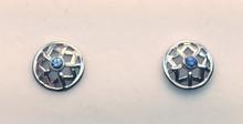 Montana Yogo Sapphire Star in Circle Earrings 14K White Gold