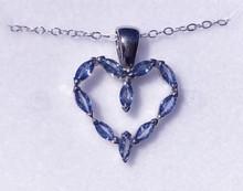 Montana Yogo Sapphire Marquise Heart Pendant 14K White Gold