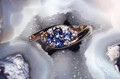 MONTANA YOGO SAPPHIRE FOUR ROUNDS & DIAMOND BYPASS RING 14K