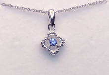 Montana Yogo Sapphire Round in Clover Pendant Sterling Silver