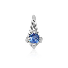 Montana Yogo Sapphire 14K White Gold Solitaire Pendant with chain.