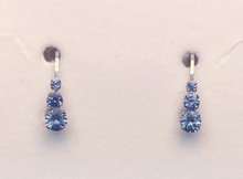Montana Sapphire 3 Stone 4 Prong Leverback Earrings 1 ct total