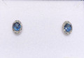 Montana Yogo Oval Sapphire & Diamond Halo Earrings 14K White Gold