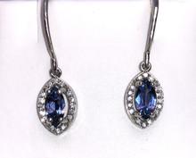 Montana Yogo Marquise Sapphire & Diamond Halo Earrings 14K White Gold Dangle