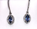 Montana Yogo Marquise Sapphire & Diamond Halo Earrings 14K White Gold Dangle