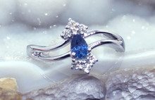 Montana Yogo Sapphire Pear & Diamond 14K White Gold Ring