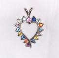 Montana Sapphire 16 Stone Heart Pendant multi color