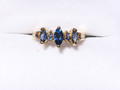 Montana Yogo Sapphire 3 Marquise Ring 14K