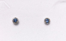 Montana Yogo Sapphire & Diamond Halo Stud Earrings .28 ct 14K White Gold