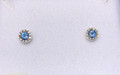 Montana Yogo Sapphire & Diamond Halo Stud Earrings .38 ct 14K White Gold