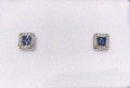 Montana Yogo Princess Cut Sapphire & Diamond Halo Stud Earrings .42 ct 14K White Gold