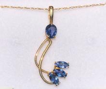 Montana Yogo Sapphire Pear 3 Marquise Pendant 14K Gold