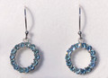 Montana Sapphire Circle Dangle Earrings in Sterling Silver