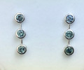 Montana Sapphire 3 Stone Bezel Set Earrings