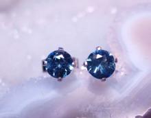 Montana sapphire round stud earrings