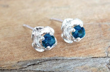 Montana Sapphire 3.5mm rose earrings