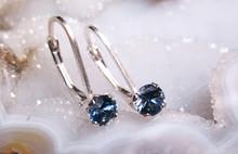 Montana sapphire leverback earrings 4mm