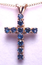 Montana Sapphire 11 Stone Cross Pendant Blue 14K Yellow Gold