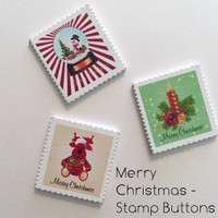 Merry Christmas Stamp Buttons