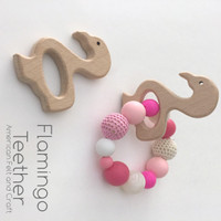 Flamingo Wood Teething Pendants