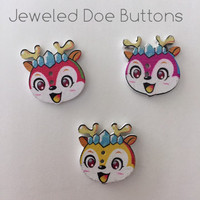 Jeweled doe buttons