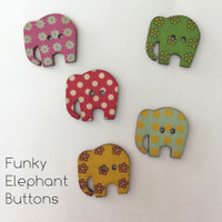 Funky Elephant Buttons