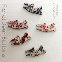 Floral Deer Buttons