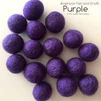 Purple  - Wool felt ball 2cm 20mm