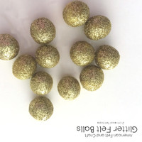 Gold Glitter- Wool felt ball 2cm