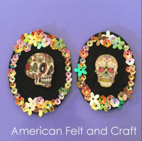 Sugar Skull Buttons- Day of the dead wood buttons