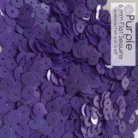 Purple- 6mm Flat Matte Sequins